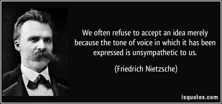 "75 Amazing Relationship Quotes - ""We often refuse to accept an idea merely because the tone of voice in which it has been expressed is unsympathetic to us."" - Friedrich Nietzsche"