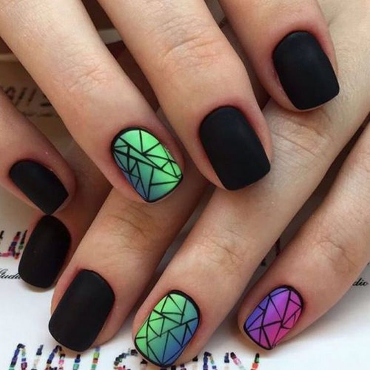 17 Winter Nails - A winter mosaic of colors with a striking stained glass nail art design.