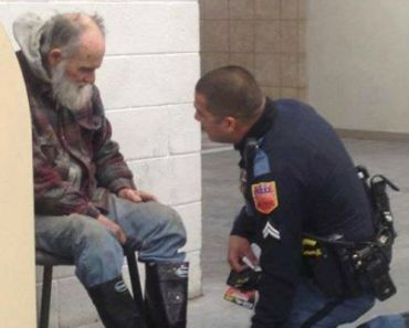 Officer Buys Clothing for Homeless Man Warming Up in a Lowe's Store.