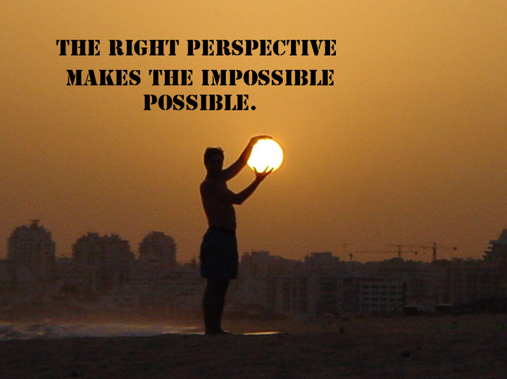 "41 Positive Quotes - ""The right perspective makes the impossible possible."""