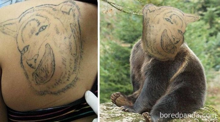 25 Funny Tattoo Fails - That bear is frightening.
