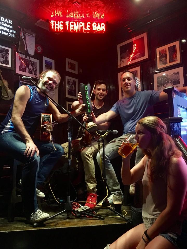 Enjoying entertainment and a pint in Dublin, Republic of Ireland.