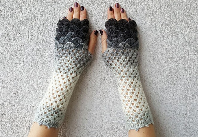 Even though mythical beasts like dragons feature scales, these gloves are also commonly called mermaid gloves.