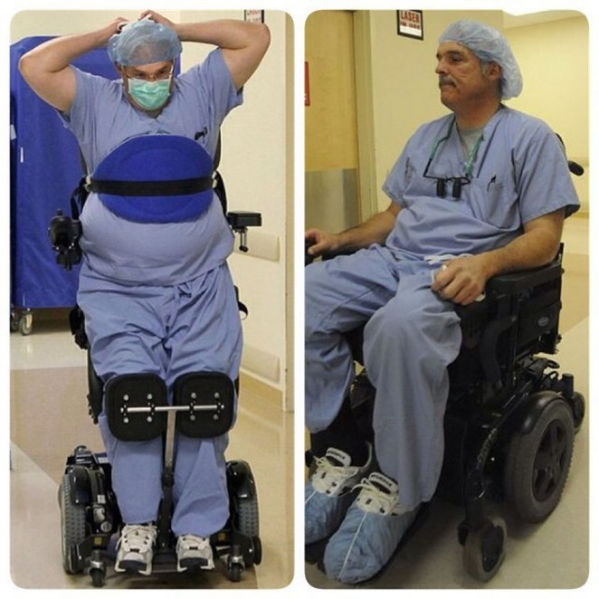 Ted Rammel, a paralyzed surgeon continues to work in the OR ina custom stand-up wheelchair. In 2010, a blood-filled cyst in his spine burst and left him paralyzed from the waist down.