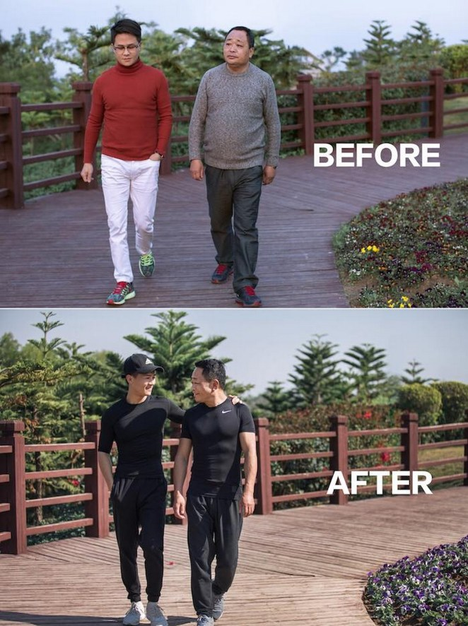 First, he and his father started to walk a few miles every single day.