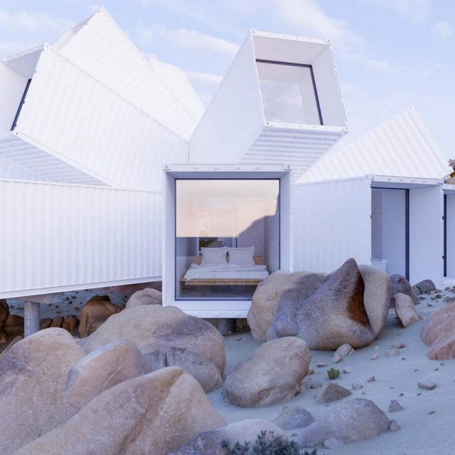 This shipping container home is named 'The Joshua Tree Residence' and is designed with several shipping containers joined at different angles.