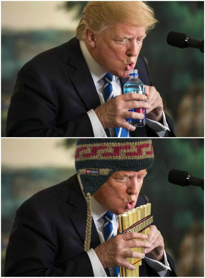11 Epic Photoshop Battles - Trump drinking water.
