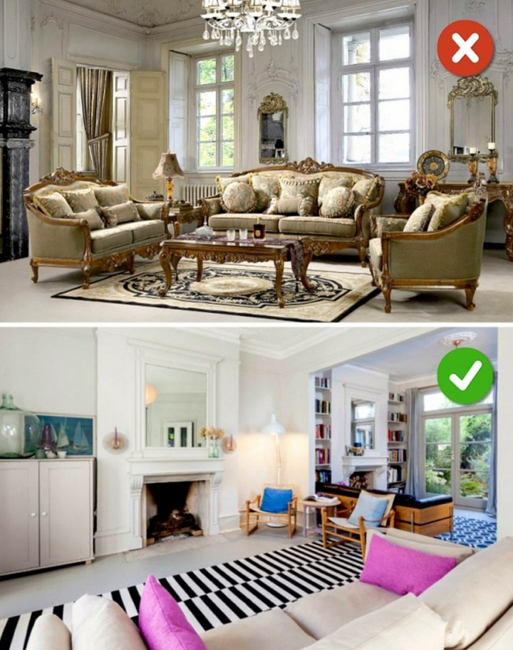 15 Living Room Design Mistakes - Choosing only one style.