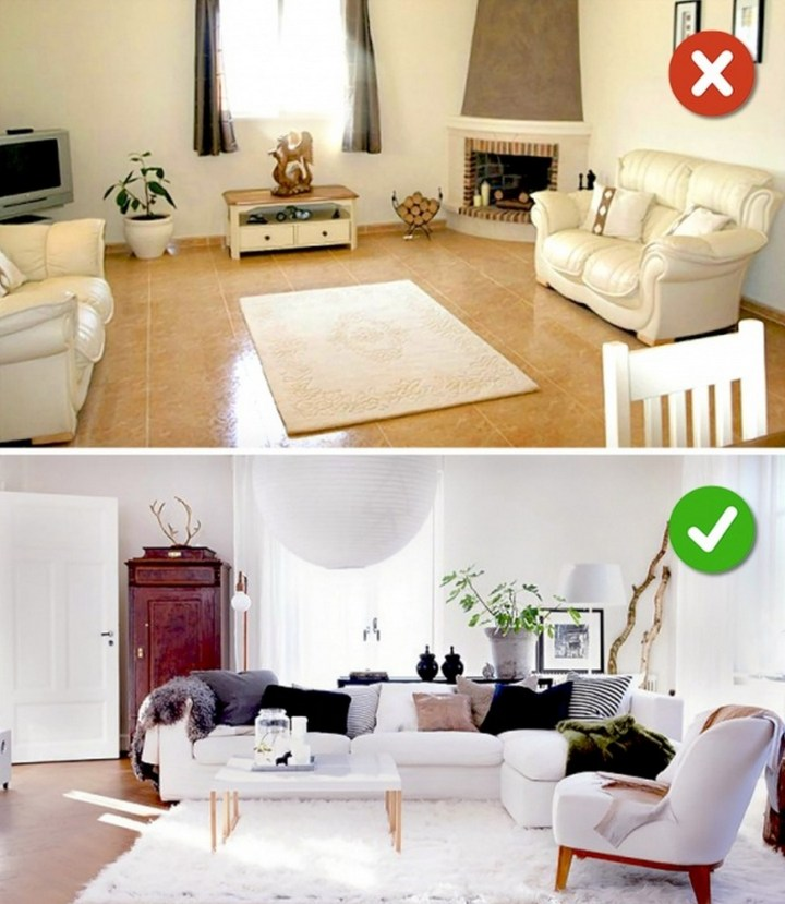 Lack of rugs or wrong size of rugs.