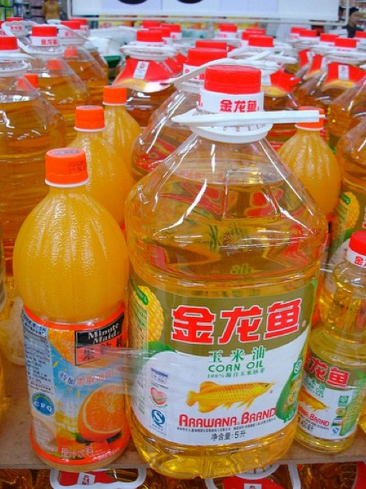 15 Items Sold at Walmart Stores in China - Orange juice and corn oil sold together.