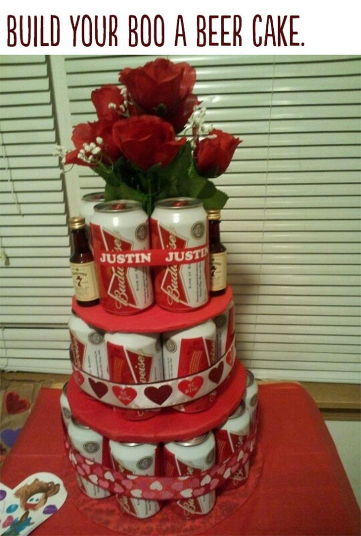 """21 Cute Ways to Say """"I Love You"""" - Build your boo a beer cake."""
