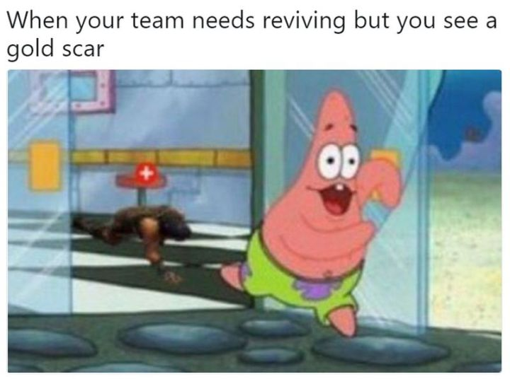 "25 Fortnite Memes - ""When your team needs reviving but you see a gold scar."""