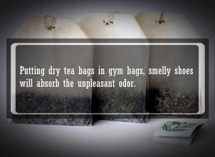 """19 Food Facts - """"Putting dry tea bags in gym bags, smelly shoes will absorb the unpleasant odor."""""""