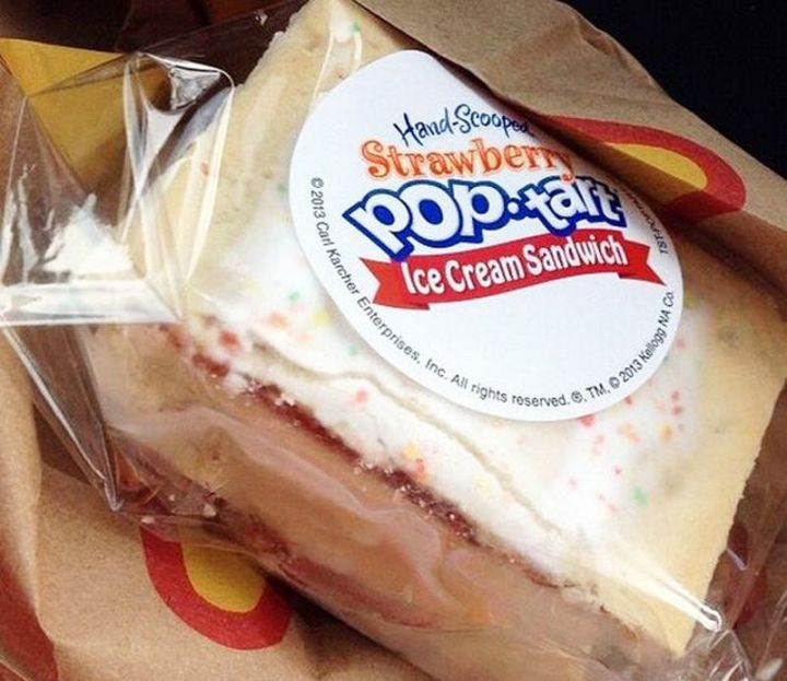 19 Ridiculous But Real Fast Food Items - Carl's Jr Hand-Scooped Strawberry Pop-Tart Ice Cream Sandwich.