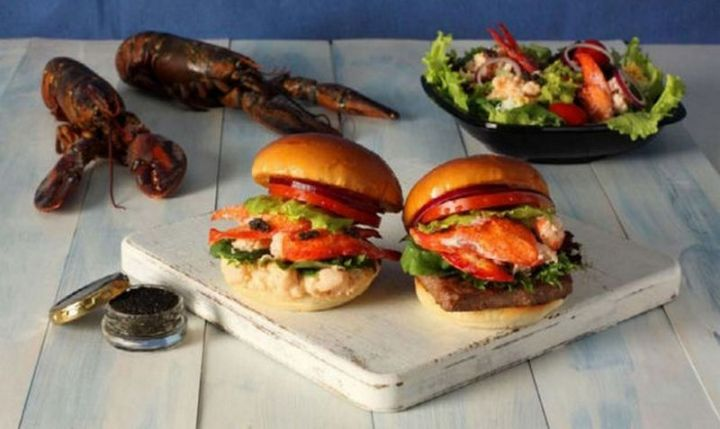 19 Ridiculous But Real Fast Food Items - Wendy's Lobster and Caviar Burger and the Surf & Turf Burger