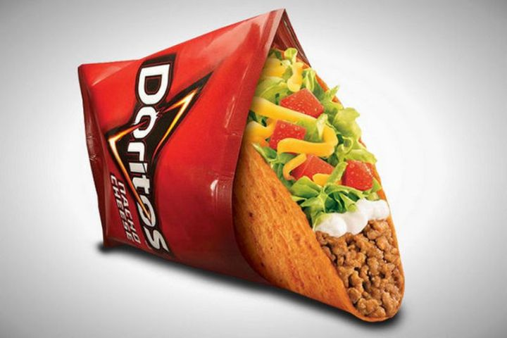 19 Ridiculous But Real Fast Food Items - Taco Bell Doritos Locos Tacos.