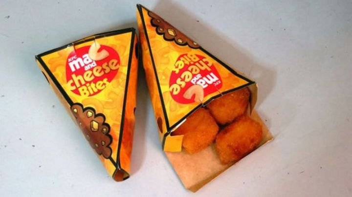 19 Ridiculous But Real Fast Food Items - KFC Mac and Cheese Bites.