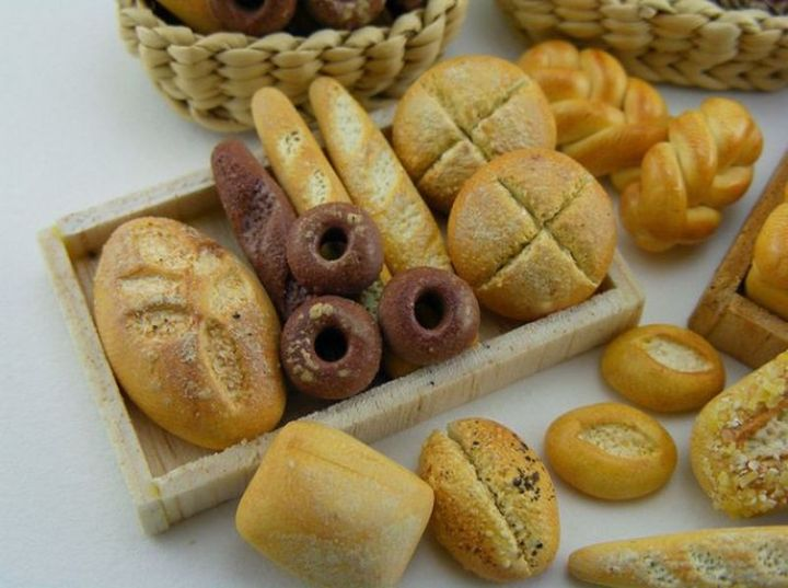 Shay Aaron Miniatures - Tiny Food (assorted breads) That is Collectible and Wearable!