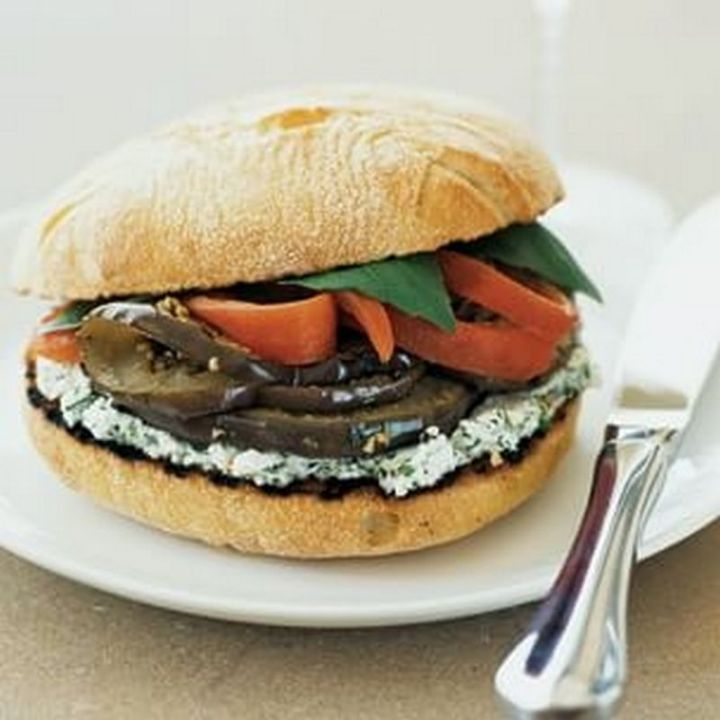 13 Delicious College Student Recipes - Eggplant, Red Pepper, and Goat Cheese Sandwiches.