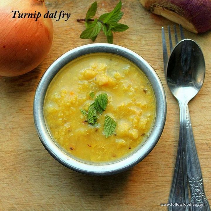 49 Indian Side Dishes - Turnip Dal Fry.