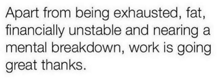 """37 Best Exhausted Memes - """"Apart from being exhausted, fat, financially unstable and nearing a mental breakdown, work is going great thanks."""""""