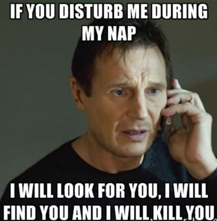 """37 Best Exhausted Memes - """"If you disturb me during mynap, I will look for you, I will find you and I will kill you."""""""