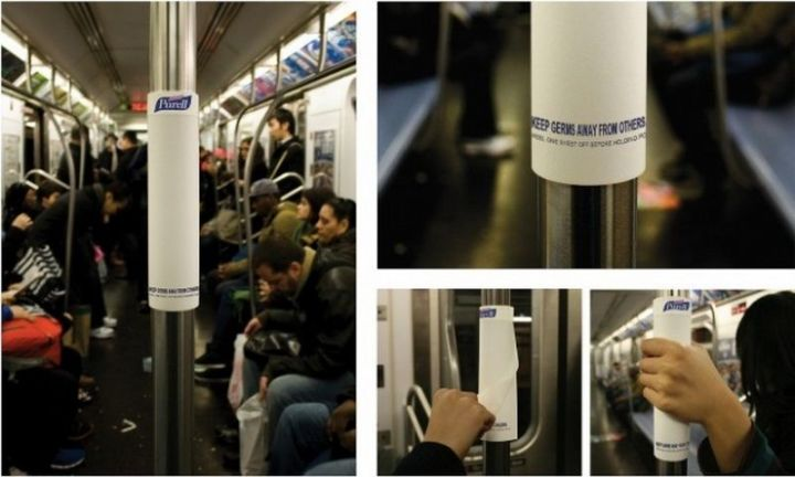 27 Awesome Billboards - Purell helps keep germs at bay with free disposable sanitizing hand wipes for passengers using public transportation.