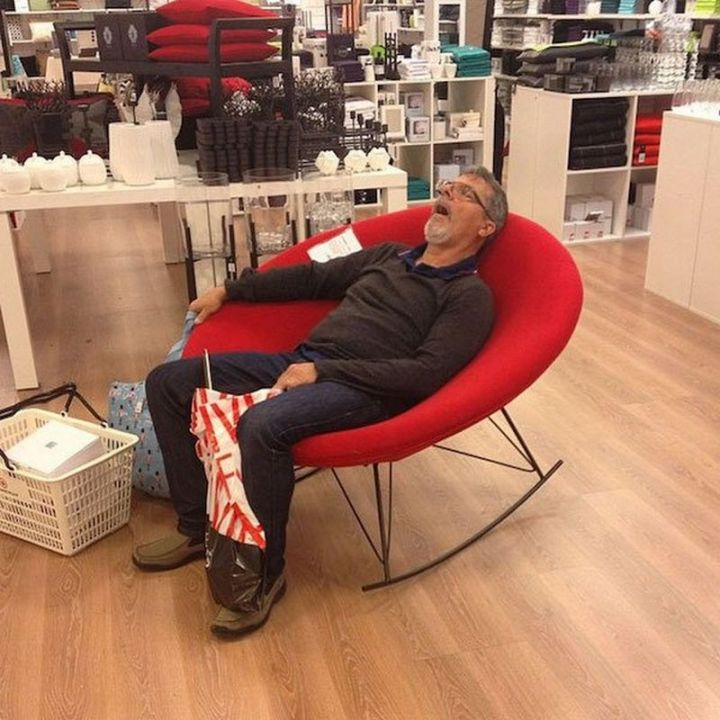 Miserable Men - Napping while holding on to shopping bags takes years of practice.