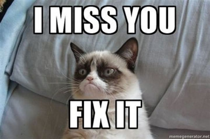 "101 I miss you memes - ""I miss you. Fix it."""