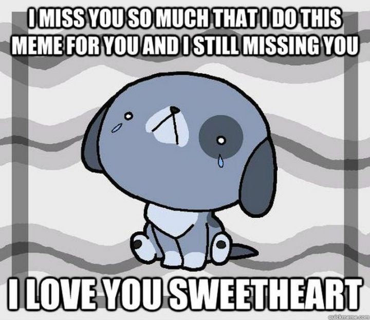 """101 I miss you memes - """"I miss you so much that I do this meme for you and I'm still missing you. I love you, sweetheart."""""""