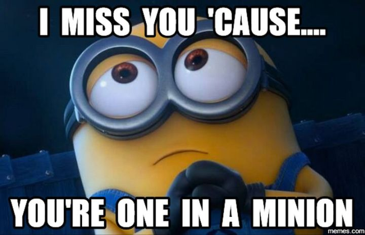 """101 I miss you memes - """"I miss you 'cause...you're one in a Minion."""""""