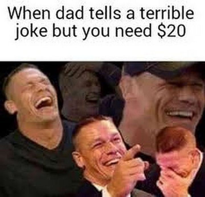 """71 Funny Dad Memes - """"When dad tells a terrible joke but you need $20."""""""