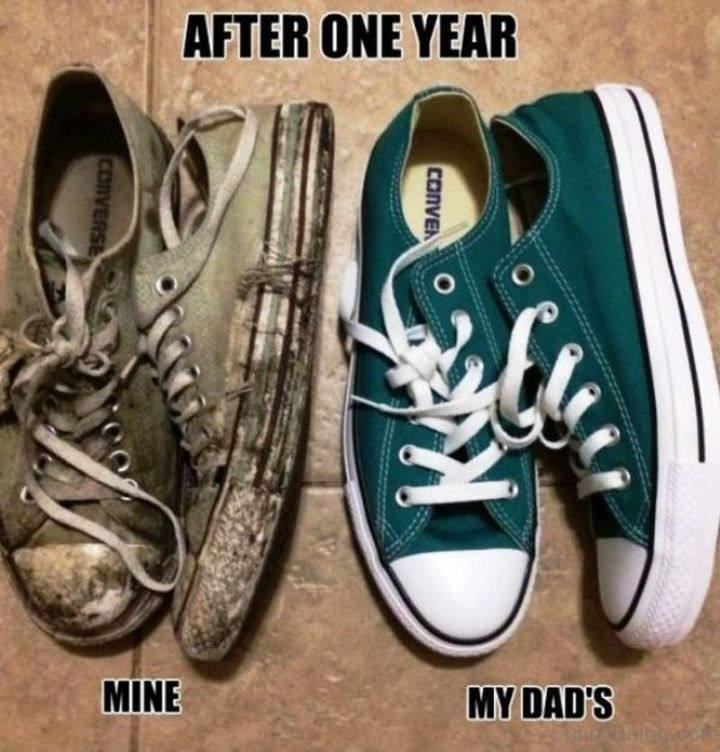 """71 Funny Dad Memes - """"My Converse sneakers vs my dad's after one year."""""""