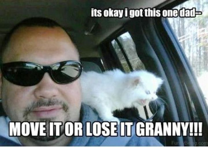 """71 Funny Dad Memes - """"It's okay, I got this one dad...Move it or lose it granny!!!"""""""