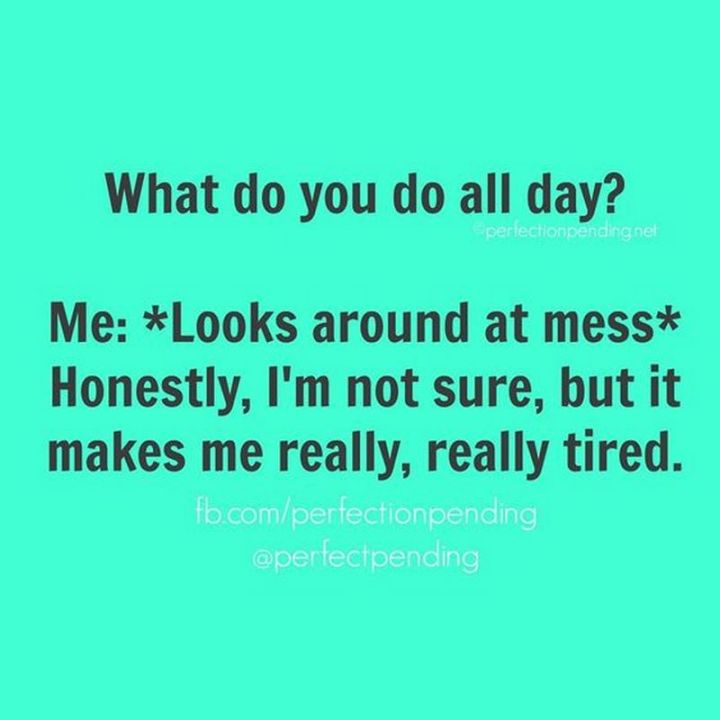 """101 Funny Mom Memes - """"What do you do all day? Me: *Looks around at mess* Honestly, I'm not sure, but it makes me really, really tired."""""""