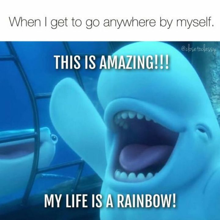 """101 Funny Mom Memes - """"When I get to go anywhere by myself. This is amazing!!! My life is a rainbow!"""""""