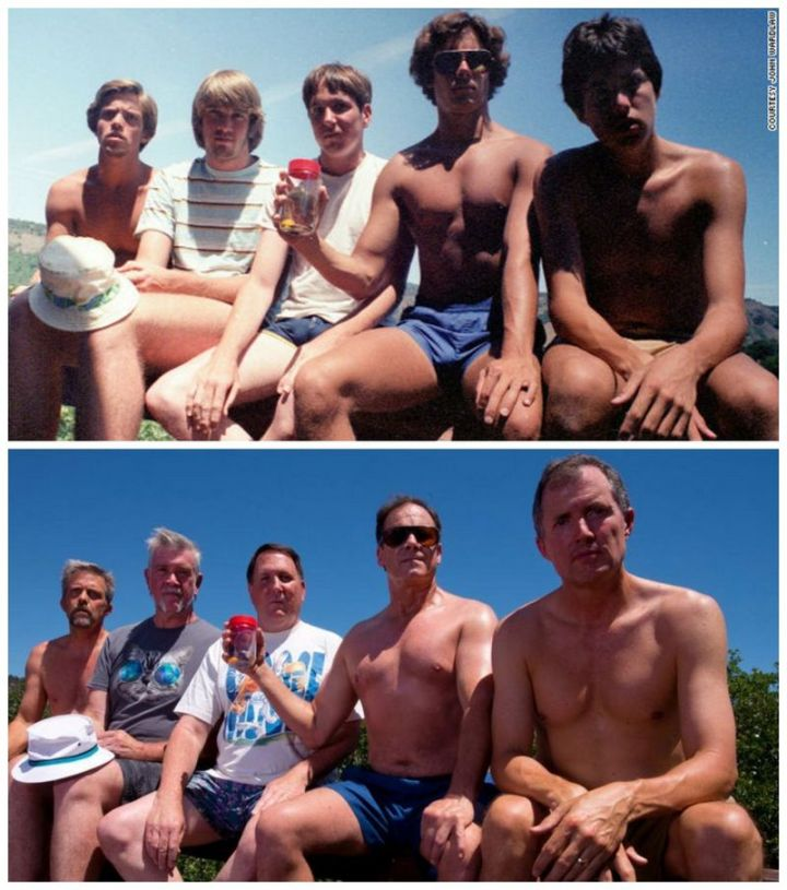 """35 Then and now pictures - """"Every five years from 1982-2017, five men take the same photo at their cabin at Copco Lake in California."""""""