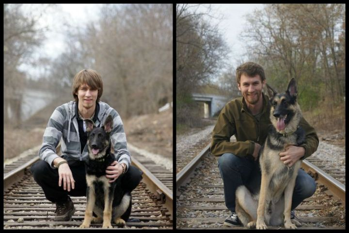"""35 Then and now pictures - """"Then and now pictures of my pup and me, four years apart."""""""