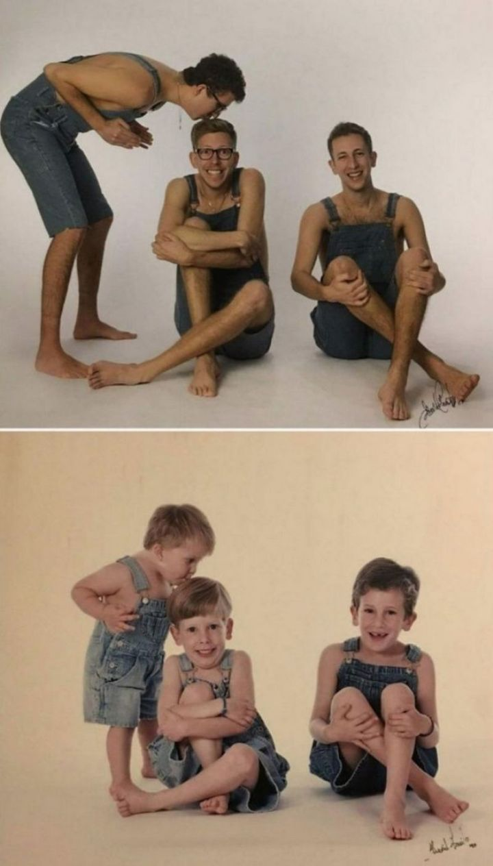 """35 Then and now pictures - """"Exactly 20 years later, we went back to the same photographer to surprise our parents with a gift."""""""