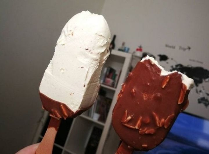 Two Types of People - Two types of ice cream bar eaters.