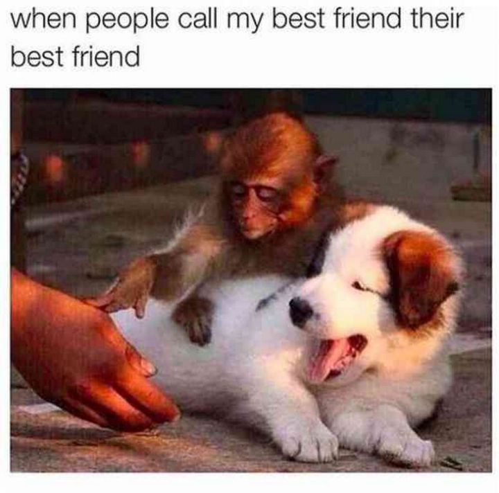 """When people call my best friend their best friend."""