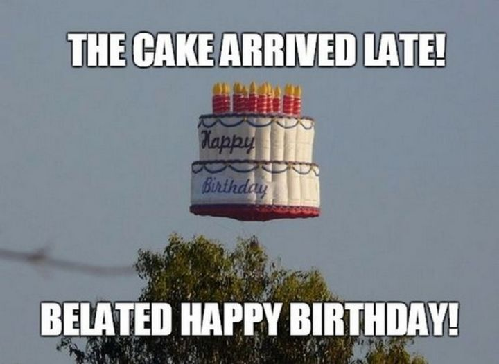 """85 Happy Belated Birthday Memes - """"The cake arrived late! Belated happy birthday!"""""""