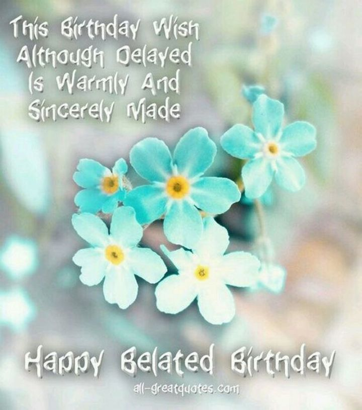 """85 Happy Belated Birthday Memes - """"This birthday wish, although delayed, is warmly and sincerely made. Happy Belated Birthday meme."""""""