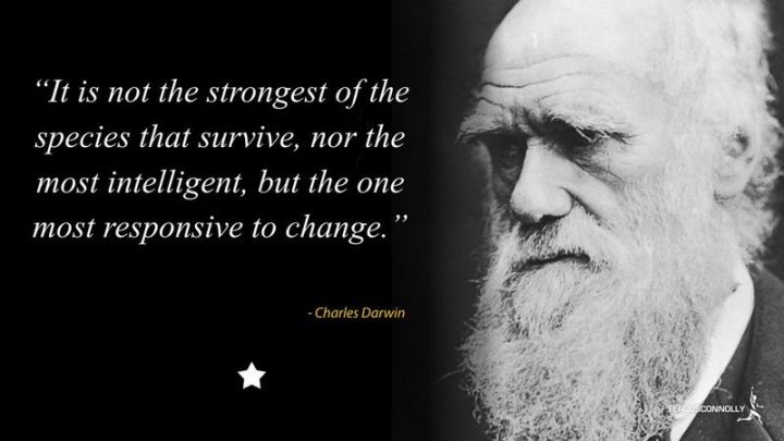 "41 Incredibly Powerful Quotes - ""It is not the strongest of the species that survive, nor the most intelligent, but the one most responsive to change."" - Charles Darwin"