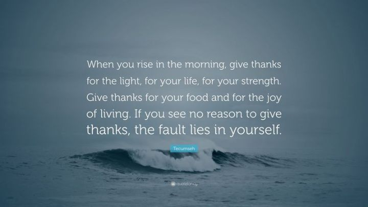 """75 Good Morning Quotes - """"When you arise in the morning, give thanks for the light, for your life, for your strength. Give thanks for your food and for the joy of living. If you see no reason to give thanks, the fault lies in yourself."""" - Tecumseh"""