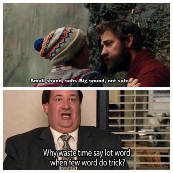 """57 Funny 'the Office' Memes - """"Small sound, safe. Big sound, not safe. Why waste time <a href="""