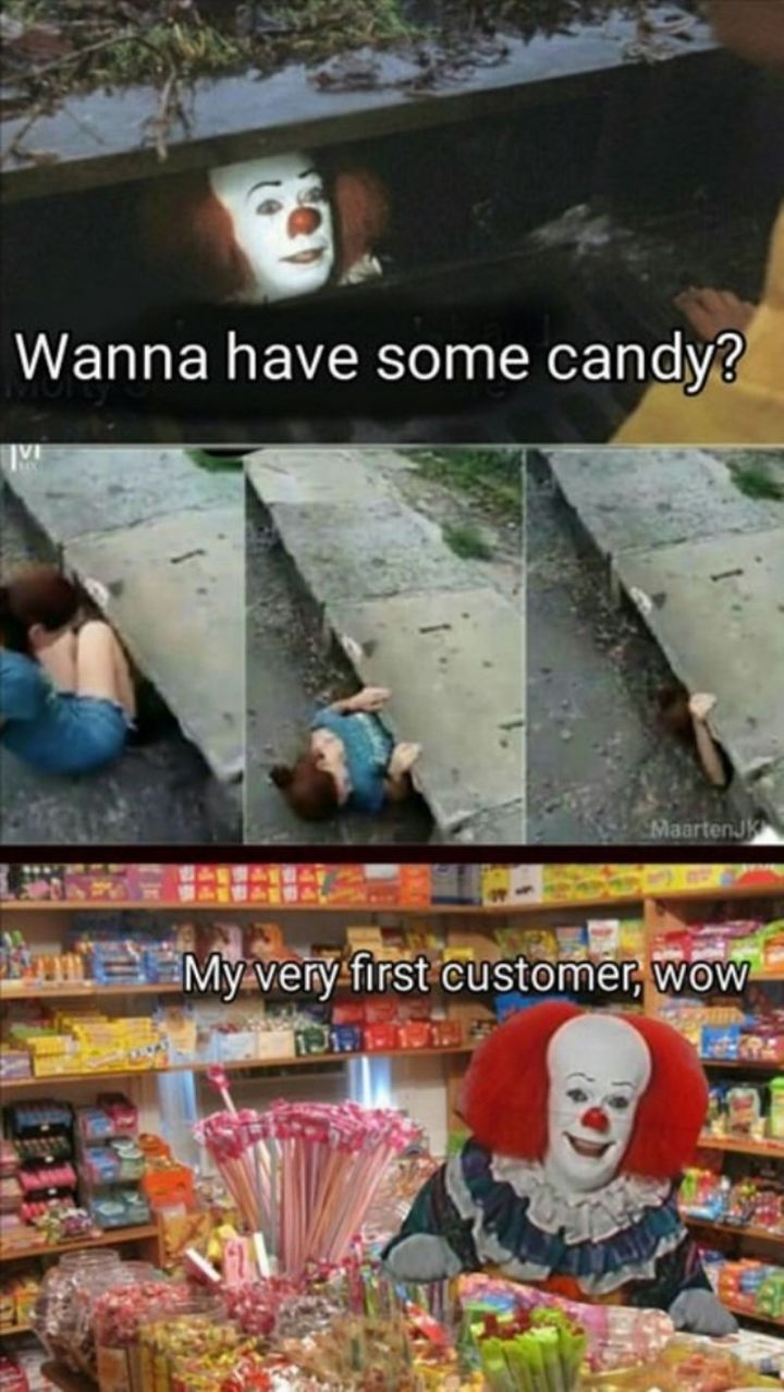"67 Hilarious Memes - ""Wanna have some candy? My very first customer, wow."""