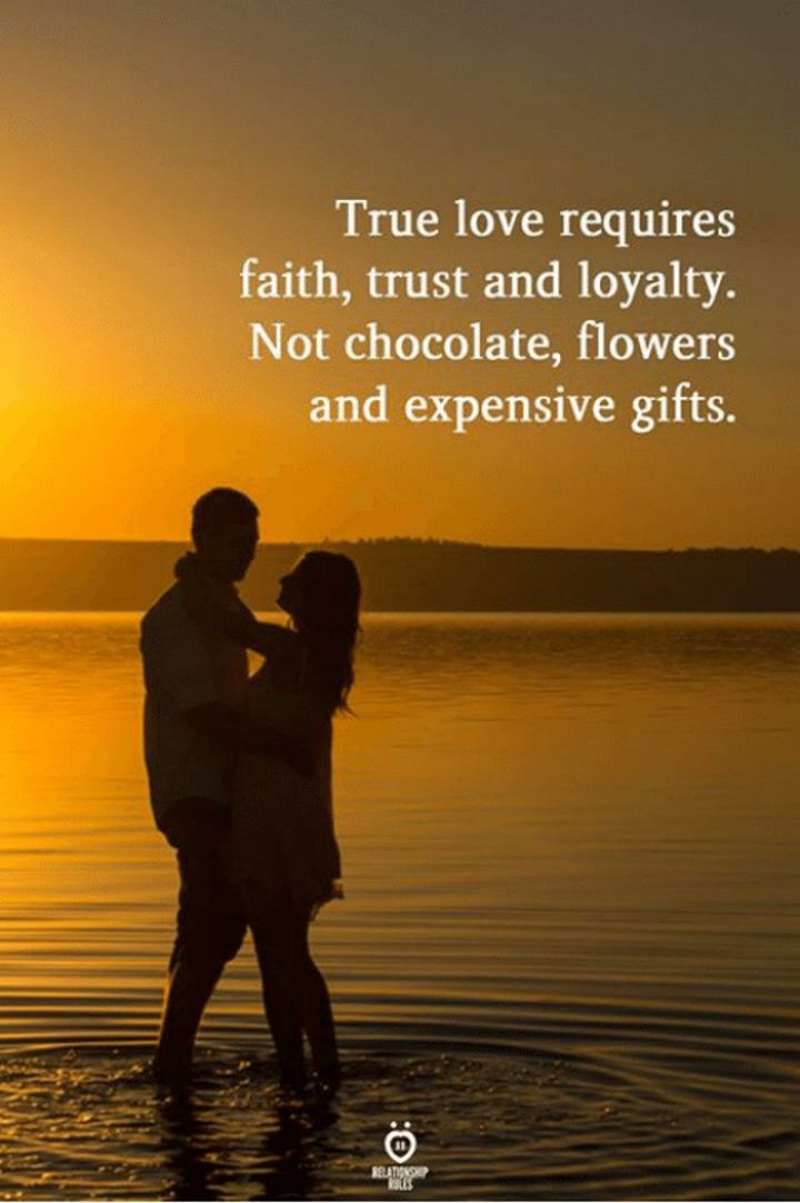 "55 Love Memes - ""True love requires faith, trust, and loyalty. Not chocolate, flowers, and expensive gifts."""