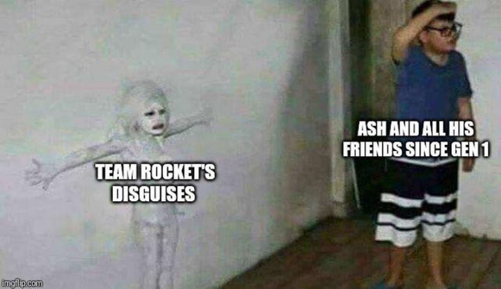 """71 Pokémon memes - """"Team Rocket's disguises. Ash and all his friends since Gen 1."""""""