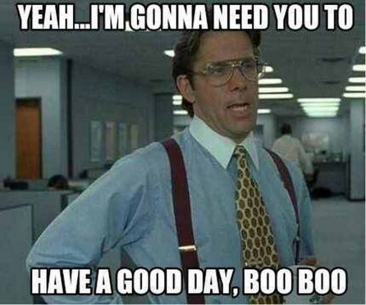 "101 Funny Good Morning Memes - ""Yeah...I'm gonna need you to have a good day, boo-boo."""